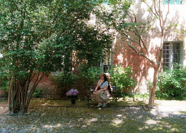 ortensie e volta di arbusti a Casa Minerbi a Ferrara per Interno Verde